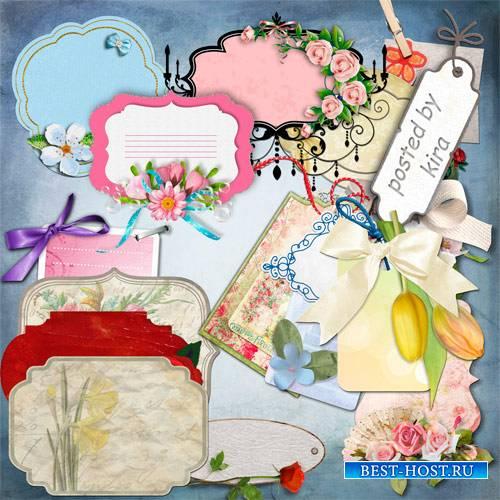 Клипарт без фона - Ярлычки, карточки и бирки с цветами