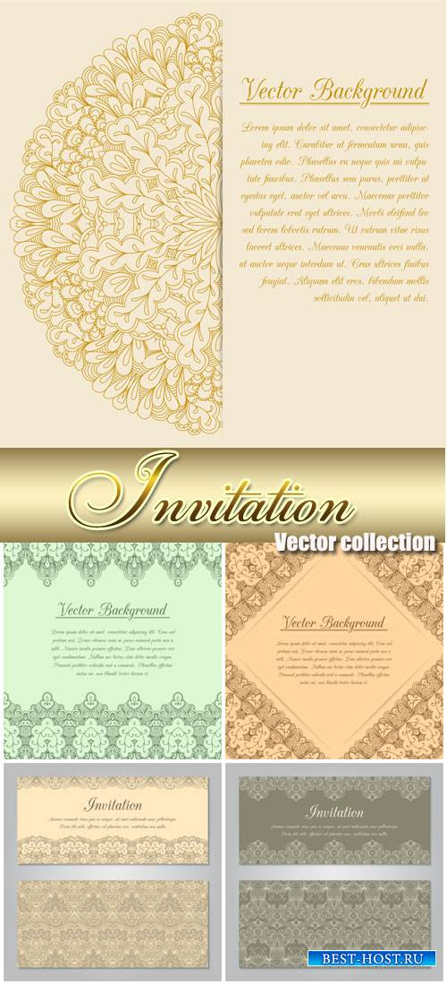 Invitation vector backgrounds with vintage pattern