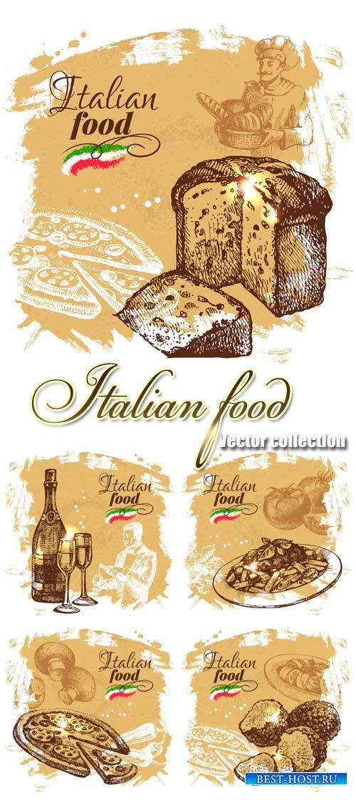 Italian food, vector backgrounds