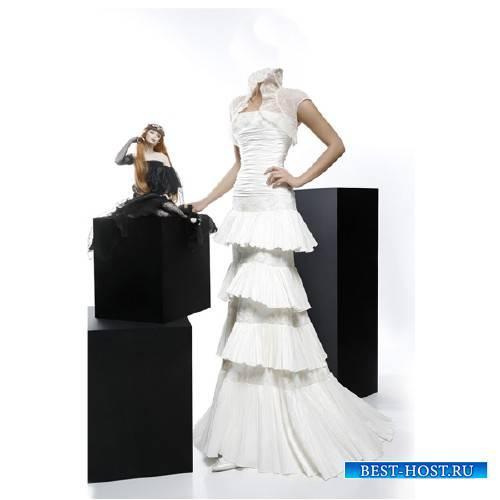 Шаблон psd женский - В белом вечернем платье