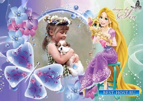 Детская фоторамочка - Принцесса Рапунцель с питомцем