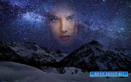 Рамка psd - Ночное небо зимой в горах