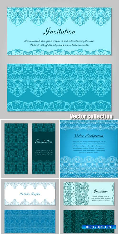Vector invitation in blue, backgrounds with patterns
