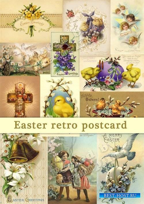 Пасхальные открытки в ретро стиле
