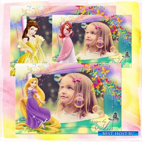 Детская рамочка для фото - Принцессы Диснея: Рапунцель, Русалочка Ариэль, Б ...