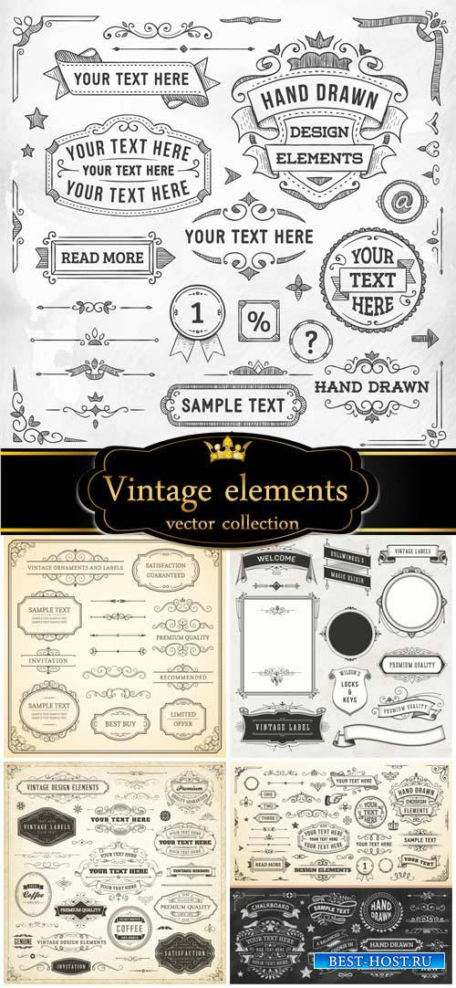 Vintage decorative elements with patterns