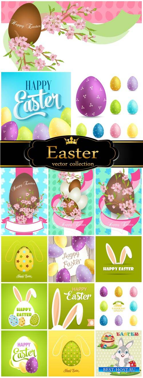 Easter, Easter eggs with spring flowers, rabbits vector