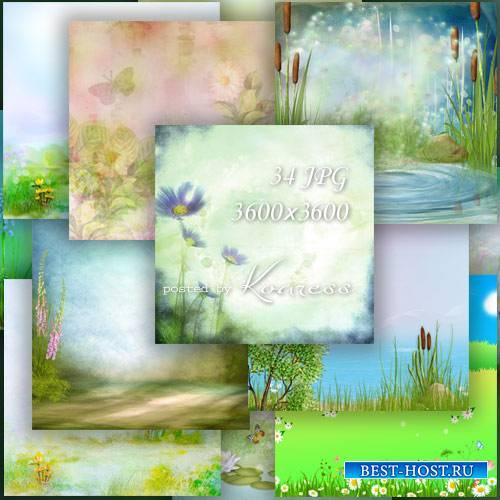 Набор jpg фонов для дизайна с цветами и полянами - в лесу, на поле, на реке