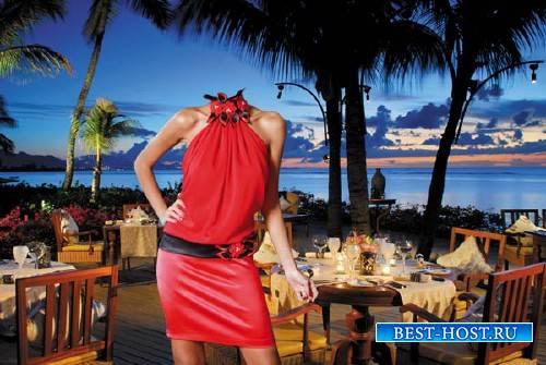 Шаблон для фотошопа - Морской вечер - в красном наряде