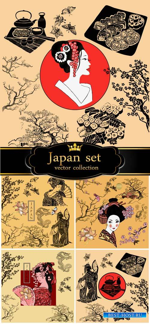 Japan vector, geisha, sakura