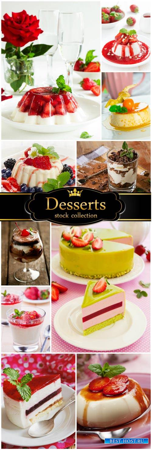 Delicious desserts, berries, chocolate - stock photos