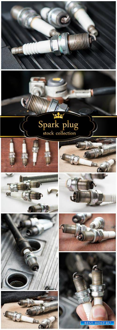 Spark plugs, auto parts - Stock Photo
