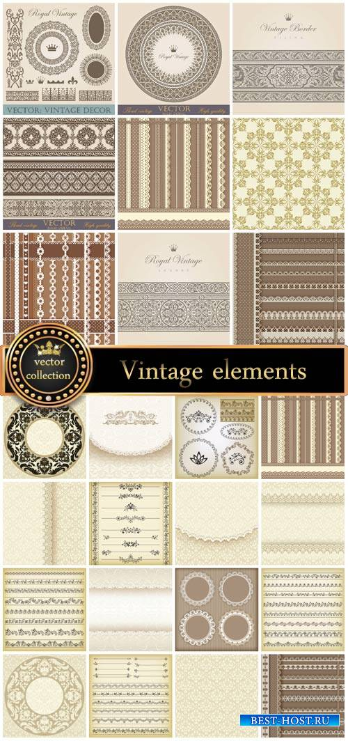 Collection of vintage elements and backgrounds vector