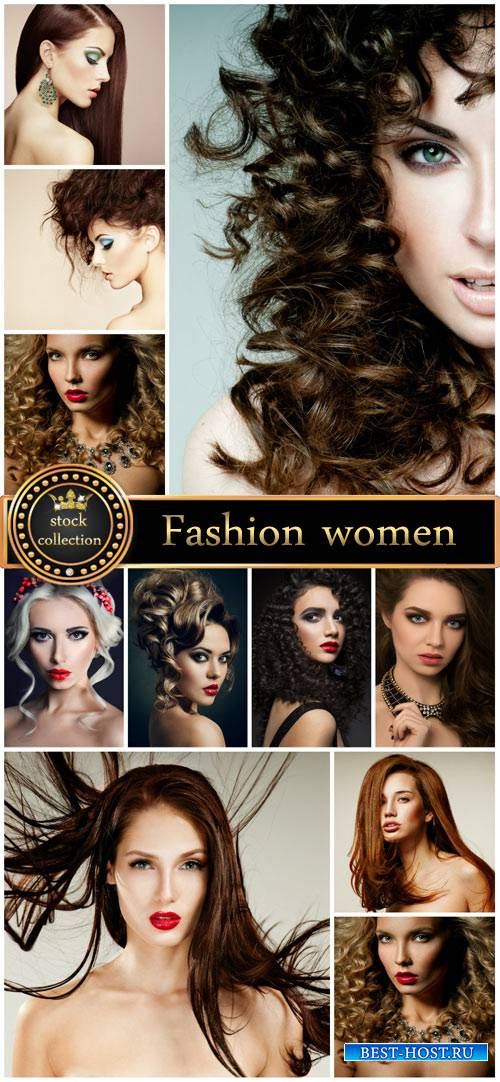 Fashionable women, beautiful hairstyles stock photos
