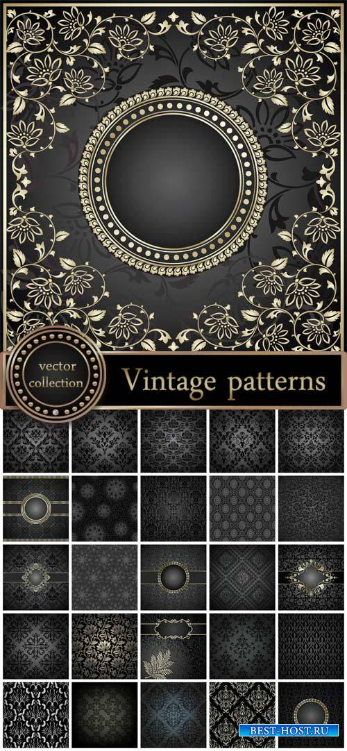 Vintage pattern, black backgrounds vector