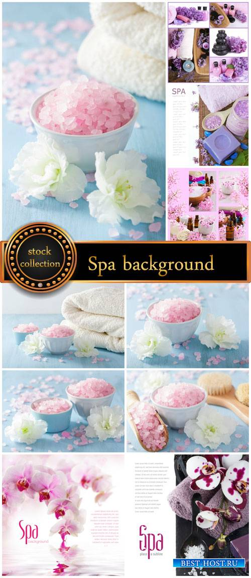 Spa backgrounds, sea salt, orchids, candles - stock photos