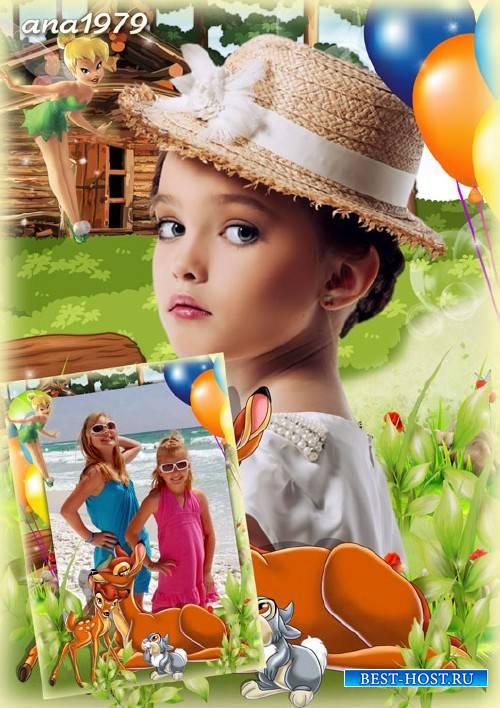 Рамка для фотошопа – Бемби и Динь-динь