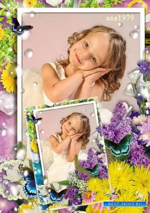 Рамка для фотошопа - Волшебные краски цветов