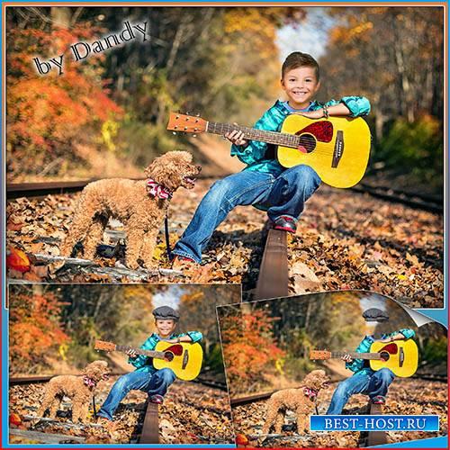 Шаблон для фотошопа - мальчик с гитарой и собачкой