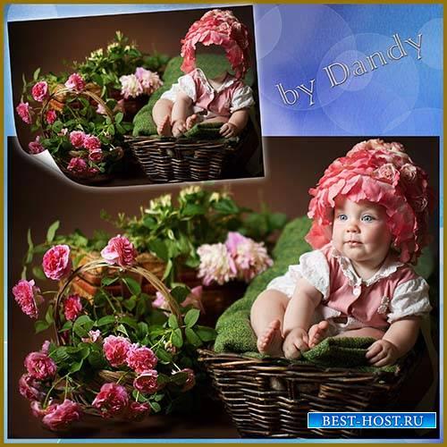 Шаблон для фотошопа - наш аленький цветочек
