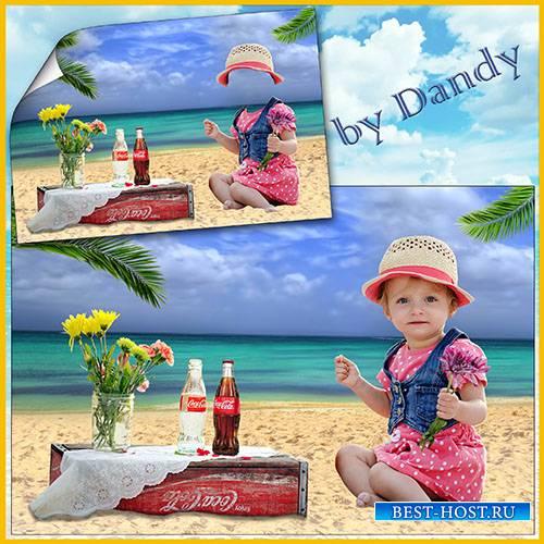 Шаблон для фотошопа - девочка с цветочком возле моря