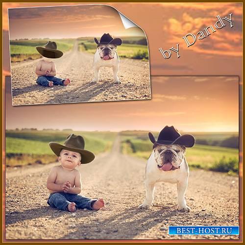 Шаблон для фотошопа –два ковбоя