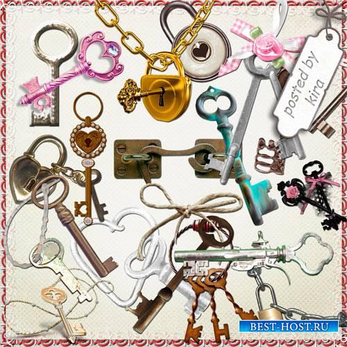 Клипарт в png - Ключи и замки