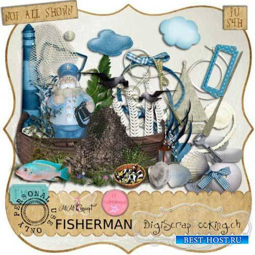 Морской скрап-комплект - Рыбак
