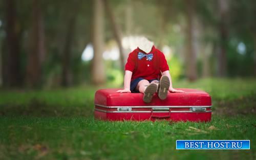 Шаблон для фотошопа  - Мальчик на чемодане