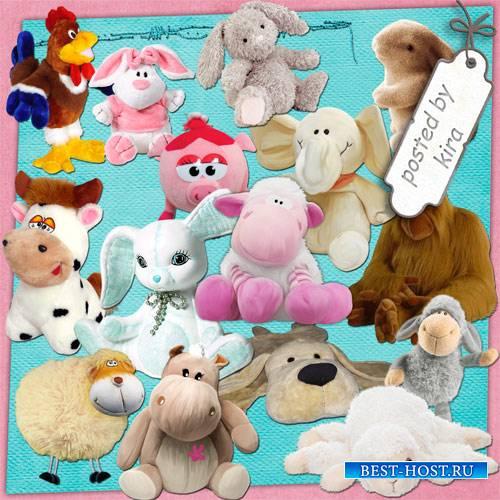 Клипарт детский - Мягкие зайчики, овечки, слоники и другие игрушки