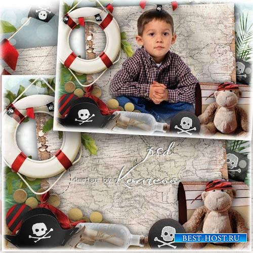 Рамка для детских фото с веселым Роджером, черной меткой и другими пиратски ...