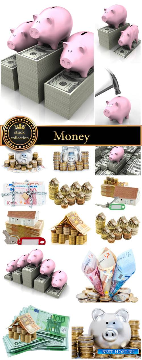 Money by piggy bank with money - Stock Photo