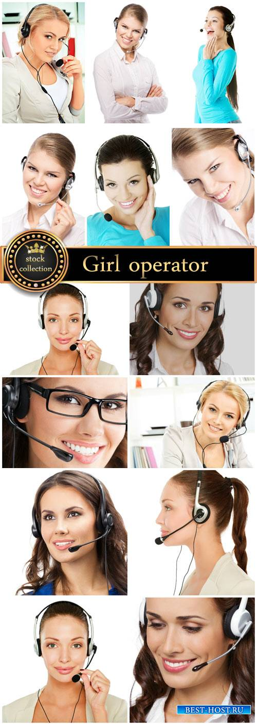 Girl operator in headphones - Stock Photo
