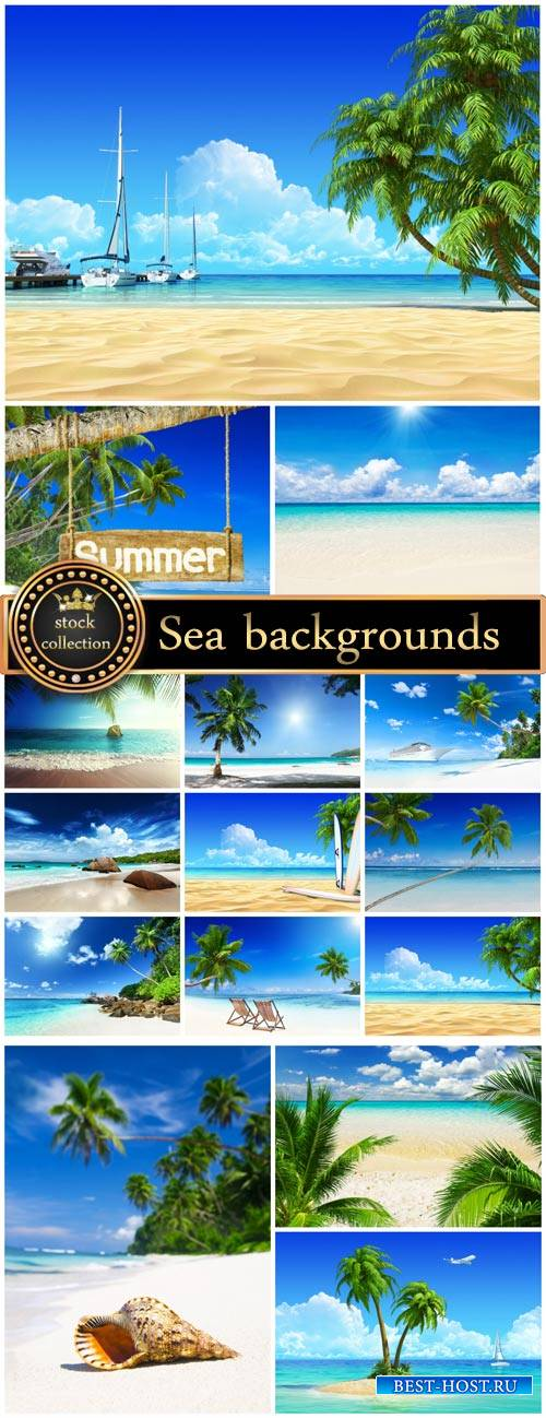 Sea backgrounds, palm trees, sand, ships - stock photos