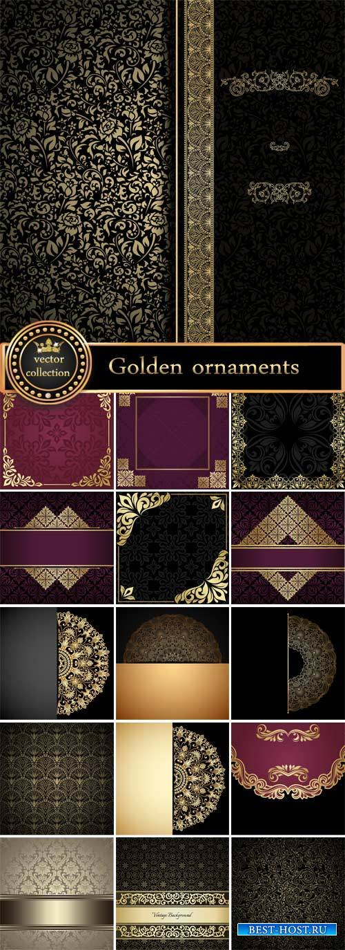 Vector background with golden ornaments, vintage #5