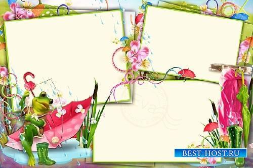 Детская рамка для фото - Веселая лягушка