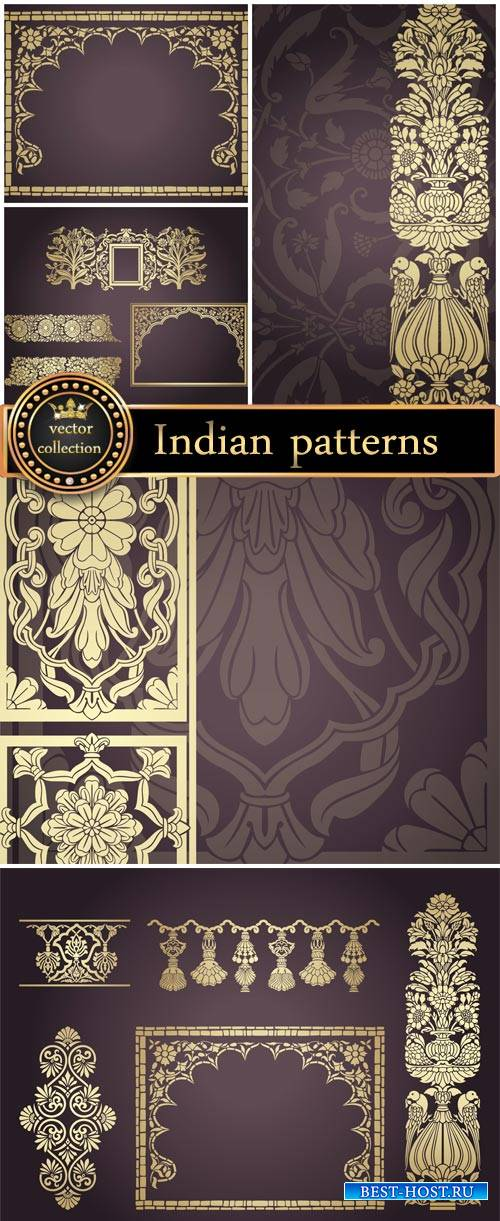 Indian patterns, gold ornaments, vector backgrounds