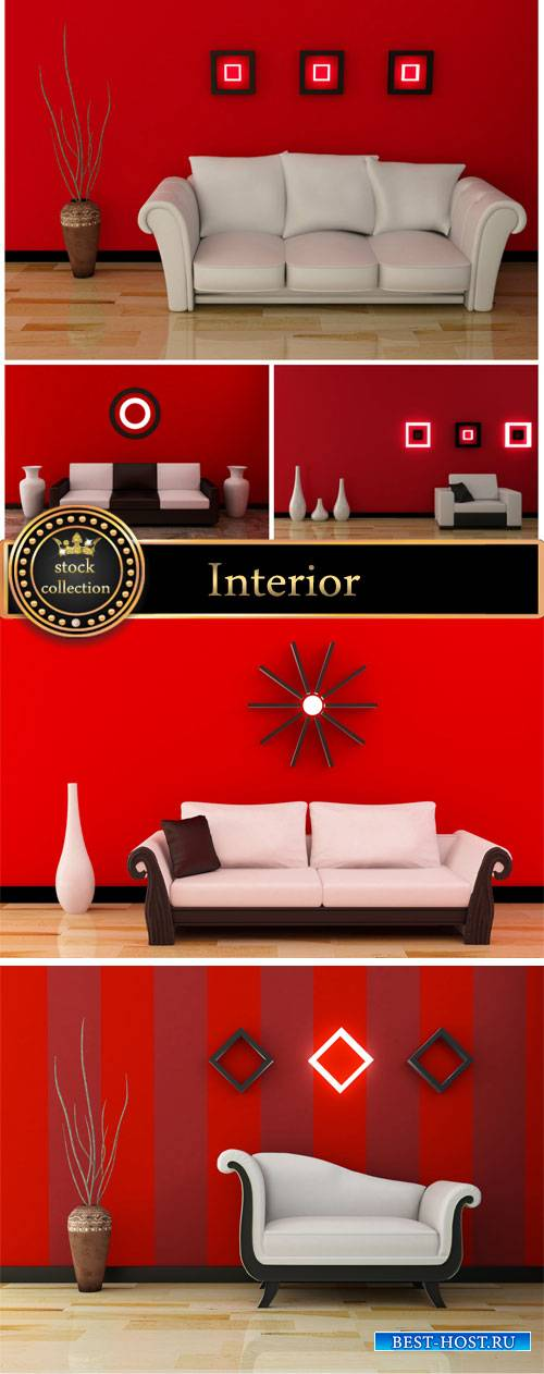 Interior in red and white colors - stock photos