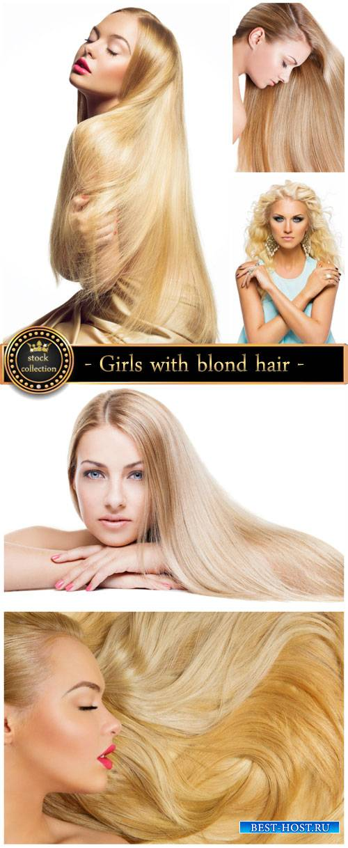Girls with luxurious blond hair - Stock Photo