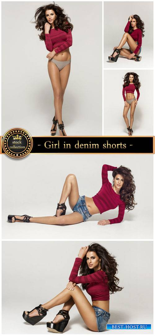 Girl in denim shorts - stock photos