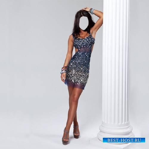 Шаблон для фотошопа - Стройная девушка в вечернем платье у колоны