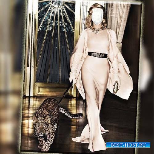 Женский шаблон - В платье с леопардом