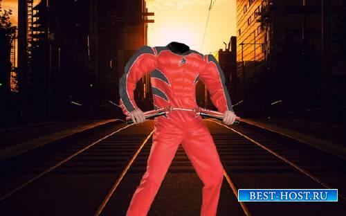 Шаблон для photoshop - Герой с нунчаками
