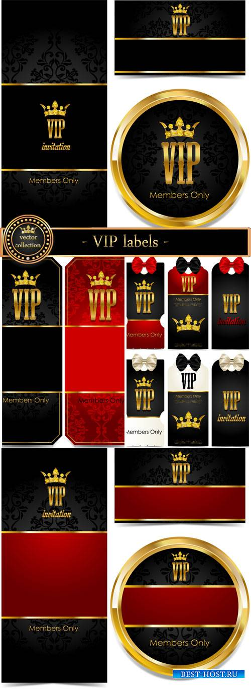 VIP labels in the vector with gold decoration
