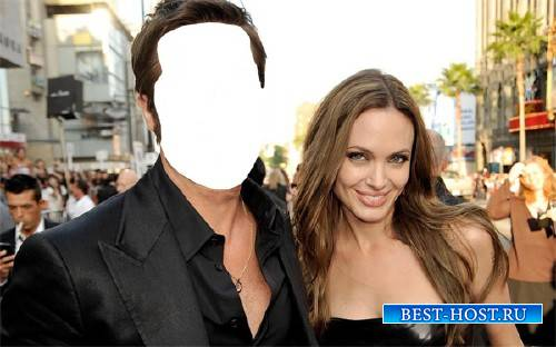 Photoshop шаблон - Знаменитая пара с Анджелиной Джоли