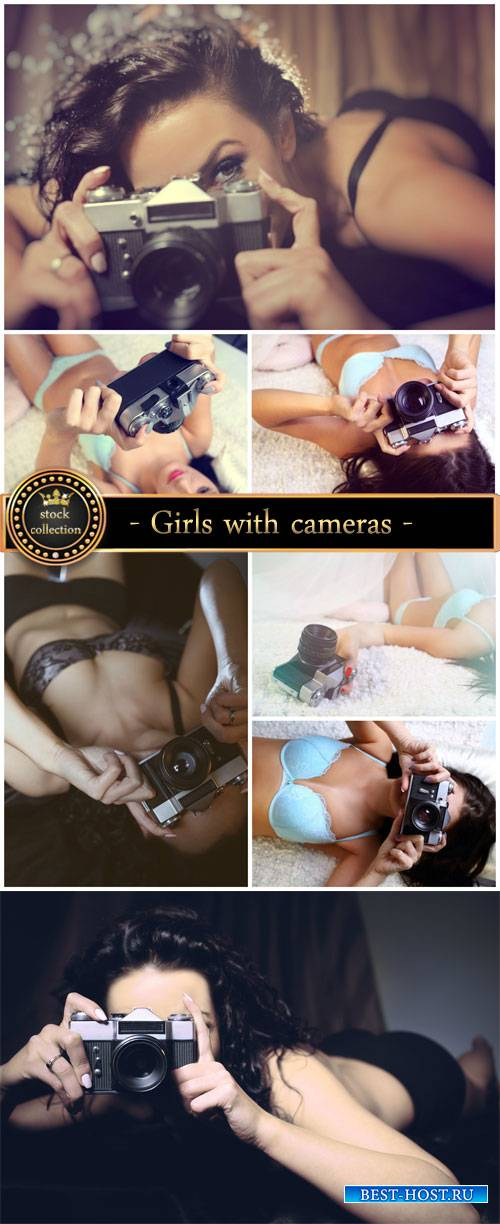 Girls with cameras - stock photos