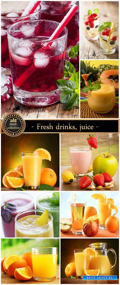 Fresh drinks, juice - stock photos