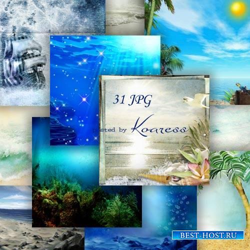 Моские фоны для коллажей - Плеск волны, песчаный берег