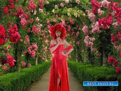 Женский фото шаблон - В красном наряде среди роз