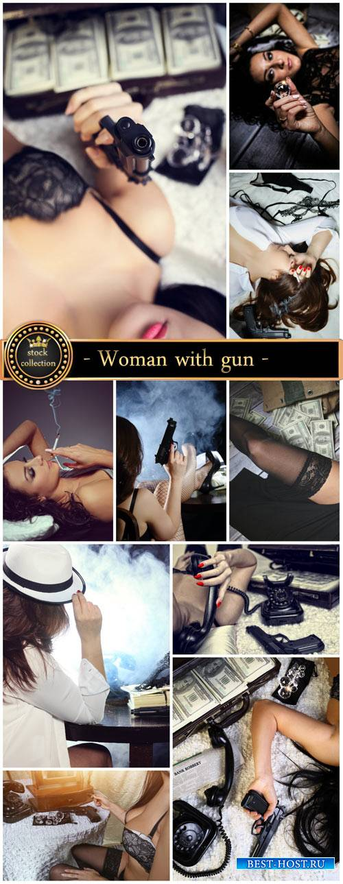 Woman with gun - Stock Photo